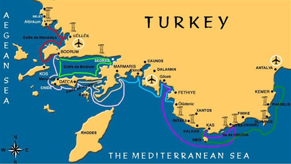 Typical crewed yacht charter Itineraries - Turkey