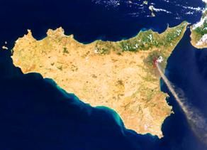 Sicily from space, with Mount Etna smoking