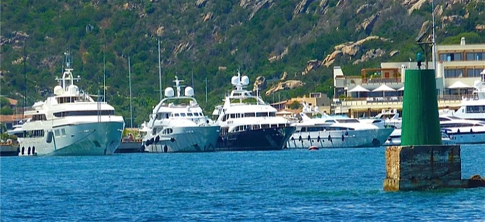 Superyachts, for Luxury yacht charter in Sardinia, moored at Porto Cervo