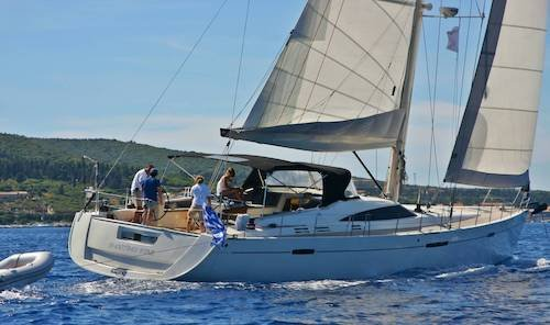Large crewed sailing yacht with crew for charter Greek islands